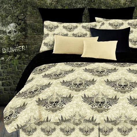 skull bed sheets street revival winged skull sheet set off white and black