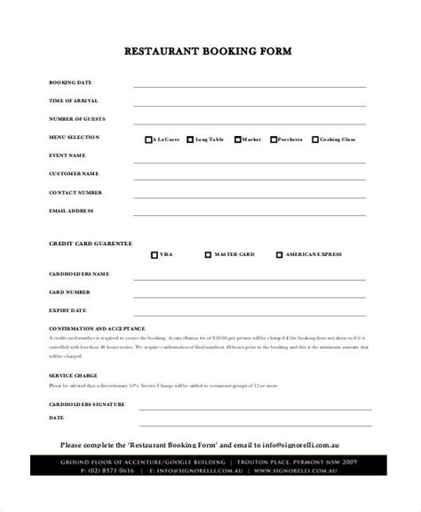 restaurant reservation form template comfortable booking confirmation template pictures