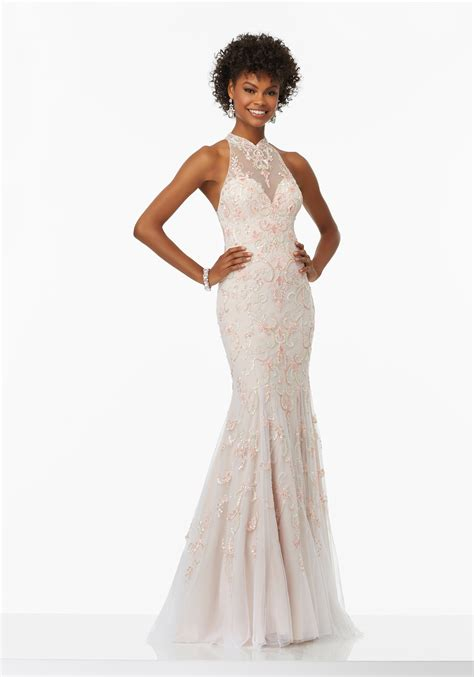 Dress Nets net prom dress with illusion sweetheart neckline style 99089 morilee