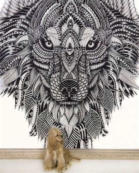 Wolf Wall Mural 10 incredibly detailed animal drawings by faye halliday