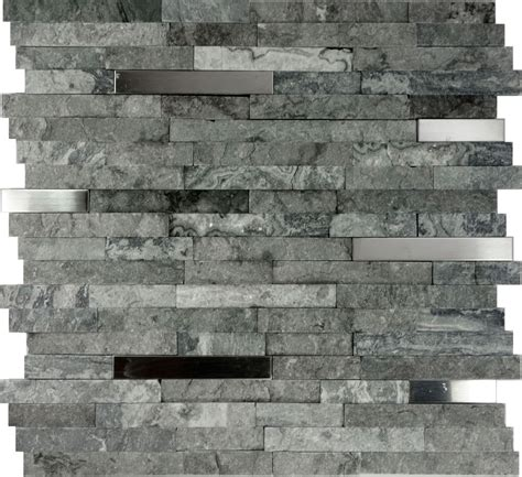 Backsplashes In Kitchens by Sample Gray Natural Stone Stainless Steel Insert Mosaic
