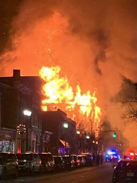 massive fire torches  buildings  bound brook nj