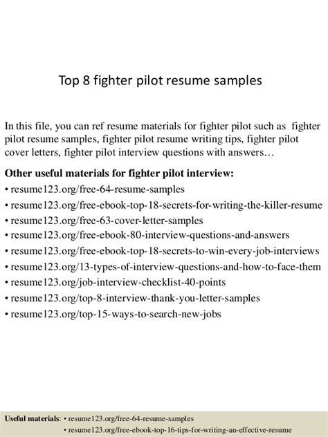 top 8 fighter pilot resume sles