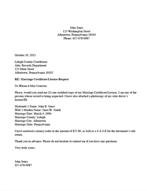 Request Letter Format For Getting Certificate Divorce Source Marriage Certificate License Request Letter
