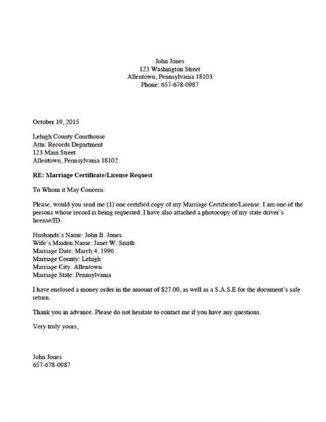 divorce source marriage certificatelicense request letter