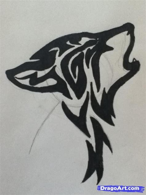 simple wolf tattoos how to draw a howling tribal wolf step 4 anime