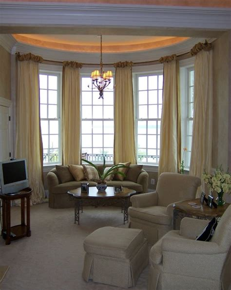 Blinds For Bow Windows Decorating Ballgown Drapery On Bow Window Contemporary Living Room Dc Metro By Masterworks Window