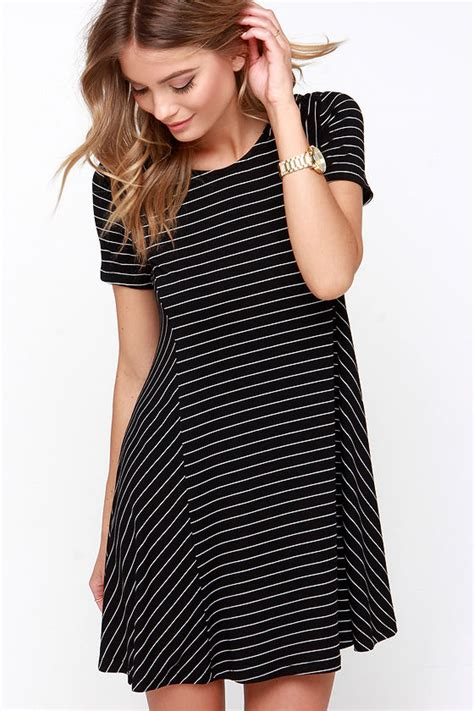 striped swing dress black striped dress shirt dress swing dress 39 00