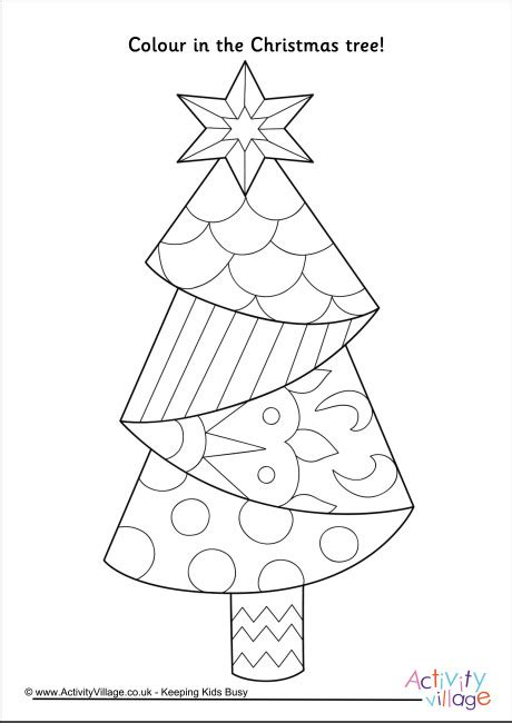 activity village christmas tree colouring page 4
