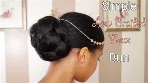 faux bun hairstyles simple low faux bun on natural hair youtube