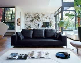 Living Room Black Leather Sofa Just Chill Be Relax On Luxury Leather Sofa