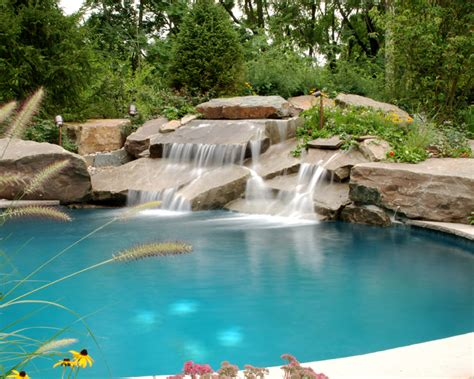 inground pool with waterfall small natural stone in ground pool waterfall installation