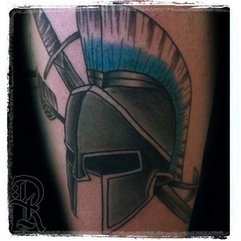 deekaytattoo greek tattoo helmet tattoo warrior spartan