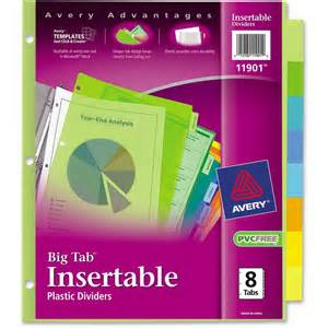 avery big tab 8 template avery big tab plastic insertable divider ave11901