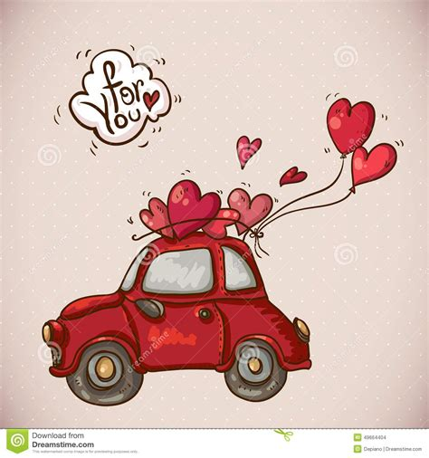 doodlebug happy cer doodle card valentines day with car stock vector