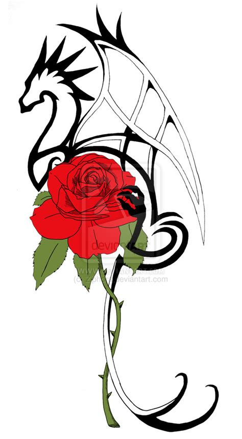 new dragon rose tattoo by ziphora on deviantart