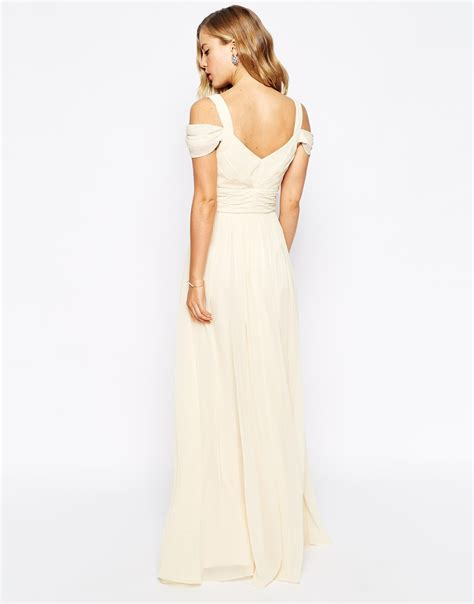 forever unique sweetheart maxi dress with shoulder in yellow lyst