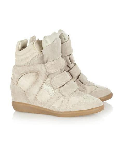 Sneaker Wedges Krem the bekett suede and leather high top wedge sneakers