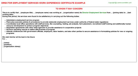 certify letter for director director employment services work experience certificate