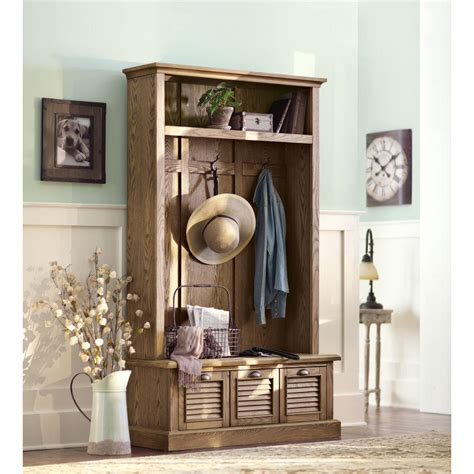 home decorators collection furniture home decorators collection shutter weathered oak hall tree