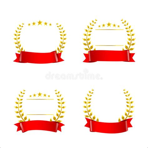 Set Of Red Ribbon And Gold Wreaths Blank Award Template Isolate Stock Vector Illustration Of Ribbon Award Template