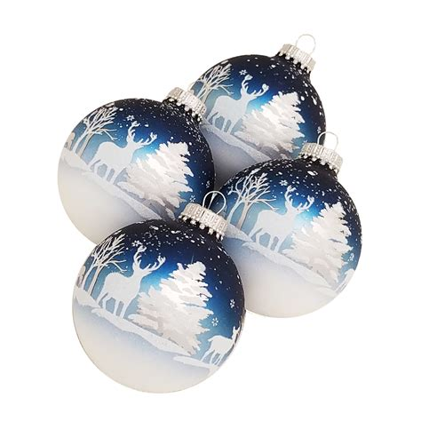 jaclyn smith 4 pack winter scene christmas ornaments