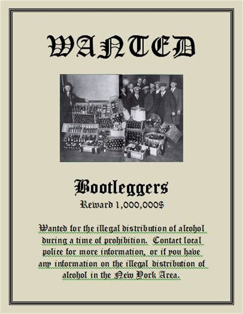 1920s wanted poster template prohibition posters 1920s search prohibition