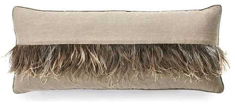 Ostrich Feather Pillow by Ostrich Feather Stripe Pillow Cappucino Transitional