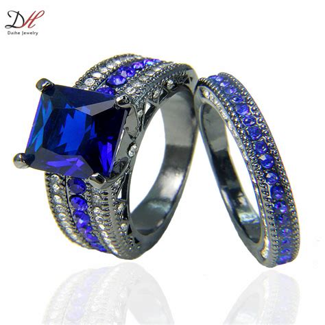 Turkish Engagement Couple Rings with Blue Sapphire 10KT