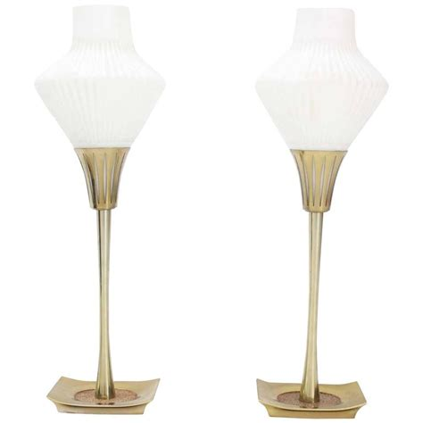 mid century modern l shades pair of mid century modern table ls cone frosted glass