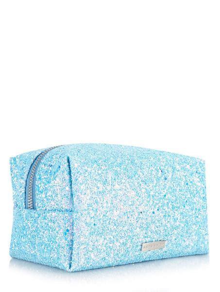 dusk makeup bag blue glitter   bag skinnydip london
