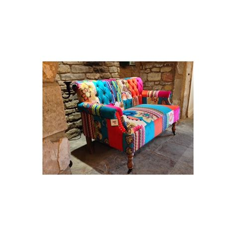 Small Patchwork Sofa - patchwork sofa velvet material pink blue green white