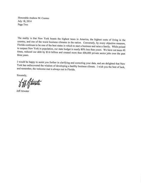 Support Letter For New Business Florida To New York Our Business Climate Is Better Than Yours