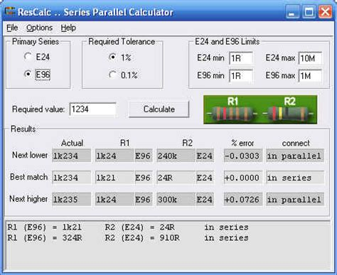 resistor color e96 rescalc resistor combination calculator