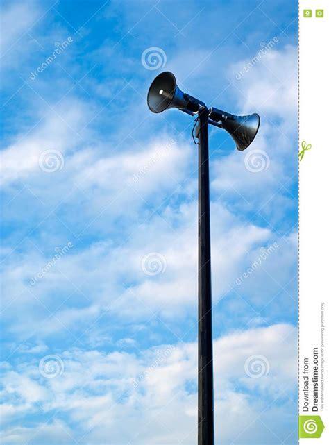 megaphone  sirens   pole royalty  stock image