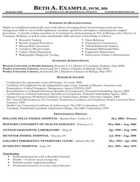 animal health technician sample resume bo administration cover letter
