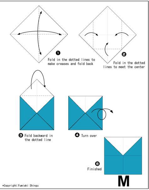 M Origami - origami alphabet m