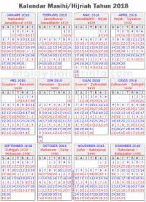 Kalender Tahun 2018 Hijriah Kalendar Islam 2018 Masihi 1439 1440 Hijrah