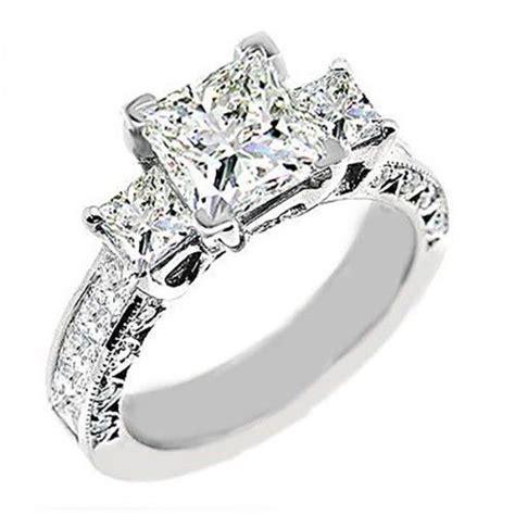 3 princess cut engagement ring vvs2 h ebay