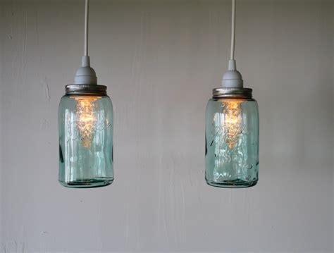 pair of antique aqua blue ball mason jar hanging lighting