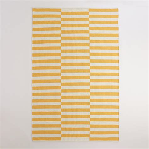 yellow and white rug yellow and white striped dhurrie area rug world market