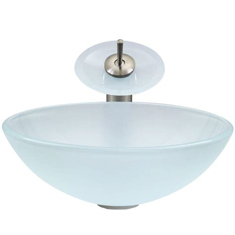 vigo glass vessel sinks vigo glass vessel sink in white with waterfall