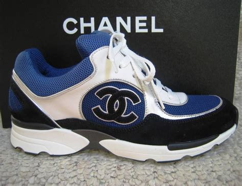chanel mens trainer sneakers chanel cc logo sneakers tennis shoes white blue black