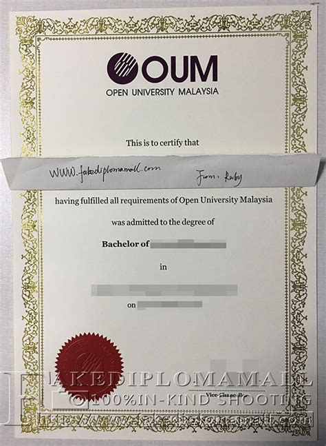 Science Malaysia Mba by Buy Open Malaysia Oum Diploma Certificate