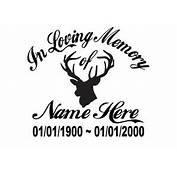 In Loving Memory Of  Hunter Deer Sticker Decal Window Memorial