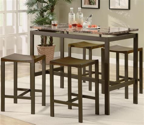 Coaster Atlas 5 Piece Counter Height Dining Set   Brown