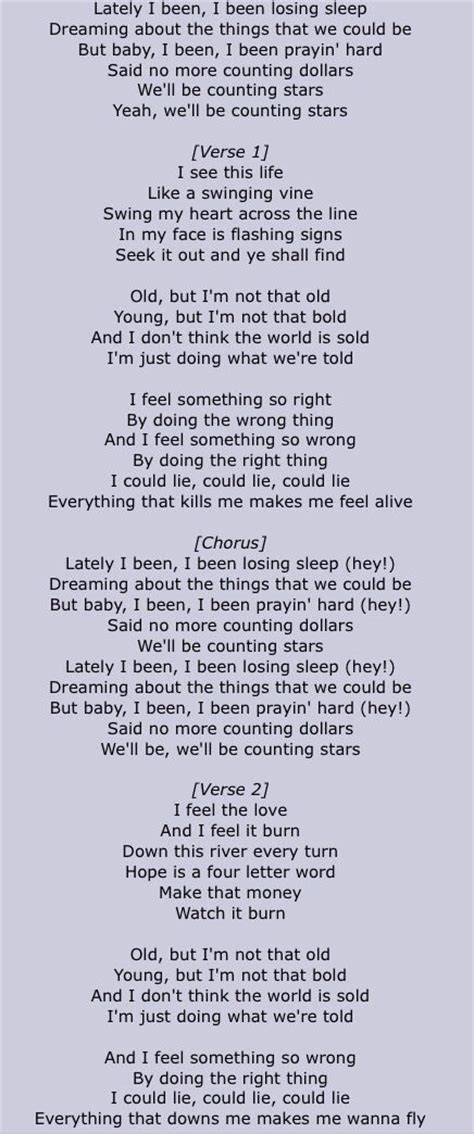 tattoo chords coldplay onerepublic counting stars part1 lyrics pinterest