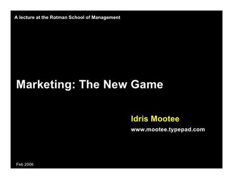 Marketing Mba In Canada by Future Of Marketing Mba Lecture Part One