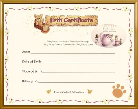 teddy bear birth certificate teddy bears picnic