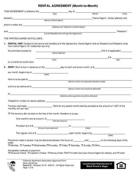 Apartment Rental Forms California Rental Agreement Month To Month Form 2 0 California